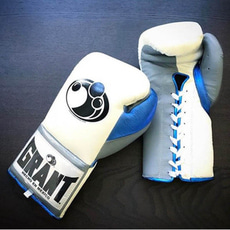 그랜트 글러브 12 oz Pro Lace up Training Gloves in White/Metallic Blue/Grey